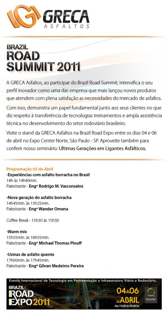 GRECA Asfaltos Brazil Road Expo 2011 Brazil Road Summi